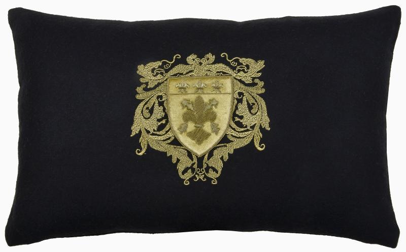 Four Fleur de Lys on Black wool, rectangle