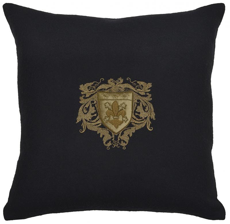 Bullion Embroidered: 4-Fleur De Lys (Black Wool)