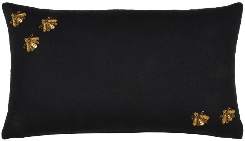 Bullion Embroidered: 5 Bees, Rectangle (Black)