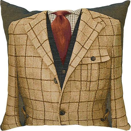 Beige Check/Red Tie - Clearance Cushion