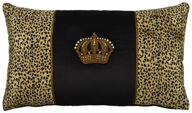 Crown on Black velvet centre over Leopard velvet, rectangle