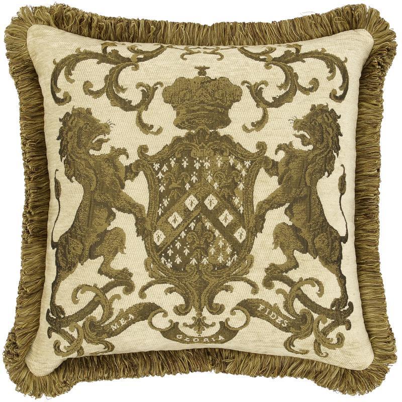 Heraldic Cushion - Cream (with trim)
