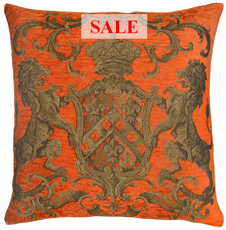 Heraldic Cushion - Orange (plain)