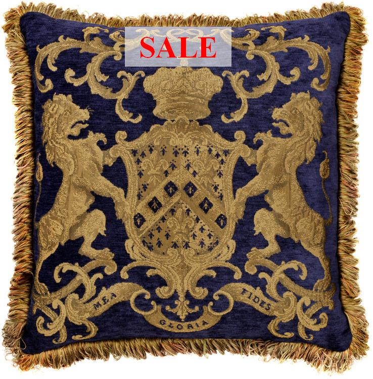 Heraldic Cushion - Royal Blue (with trim)