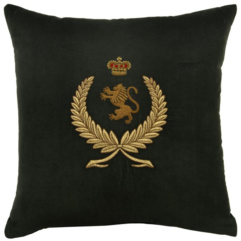 Wreath, Lion & Crown (Green), Bullion Embroidered - Square Cushion