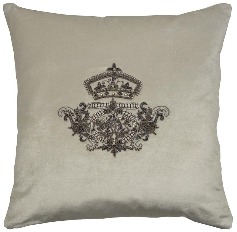 Crest, Crown & Pearls (Vanilla) - Velvet, Square Cushion
