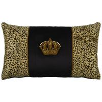 Crown on Black velvet centre over Leopard velvet, rectangle