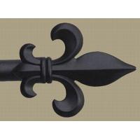 Finial & Rod, Fleur de Lys - Black Painted, Large