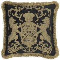 Heraldic Cushion - Black (with trim)