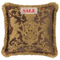 Heraldic Cushion - Chocolate (with trim)