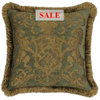 Heraldic Cushion - Olive (with trim)