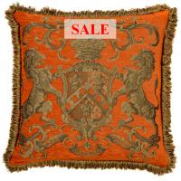 Heraldic Cushion - Orange (with trim)