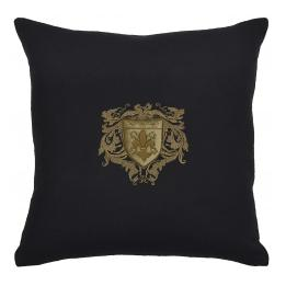 Bullion Embroidered: 4-Fleur De Lys (Black Wool)