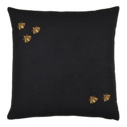 Bullion Embroidered: 5 Bees, Square (Black)