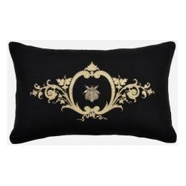 Bullion Embroidered - Bee, Rectangle (Black Wool)