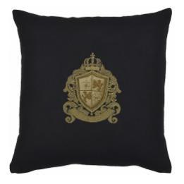 Bullion Embroidered: Fleur De Lys & Lions (Black Wool)