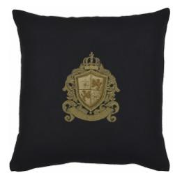 Bullion Embroidered: Fleur De Lys & Lions (Black Wool)