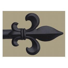 Finial & Rod, Fleur de Lys - Black Painted, Small
