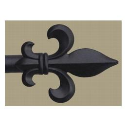 Finial & Rod, Fleur de Lys - Black Painted, Large