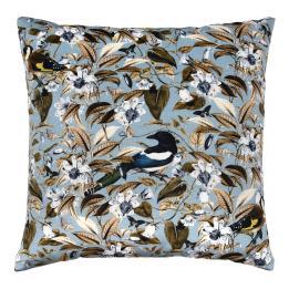 Floral Birds, Blue - square