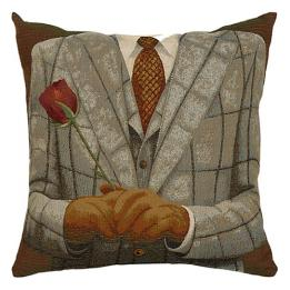 Grey Check/Red Rose - Clearance Cushion
