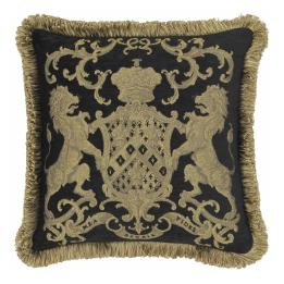 Heraldic Cushion - Black (with trim)