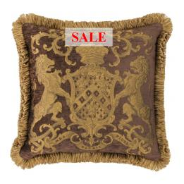 Heraldic Cushion - Chocolate (with trim)