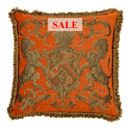 Heraldic Cushion - Orange (with trim)