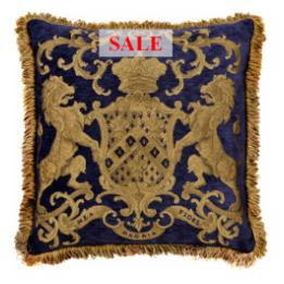 Heraldic Cushion - Royal Blue (with trim)
