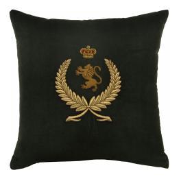 Wreath, Lion & Crown (Green), Bullion Embroidered - Square Cushion