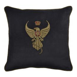 Eagle Crest (Black) - Velvet (with trim), Square Cushion